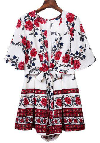Discount Sweet Half Sleeve Plunging Neck Floral Print Women's Romper WHITE S