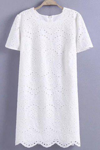 Fashion Graceful Jewel Neck Short Sleeve Hollow Out Embroidered White Dress For Women