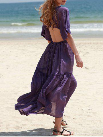 Outfit Bohemian Plunging Neck Hollow Out Solid Color Women's Dress - M PURPLE Mobile