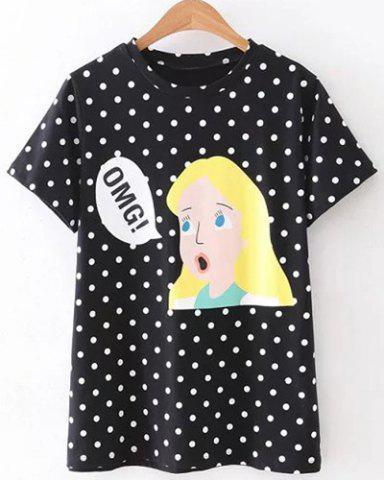 Fashion Cute Jewel Neck Short Sleeve Polka Dot Cartoon Print T-Shirt For Women