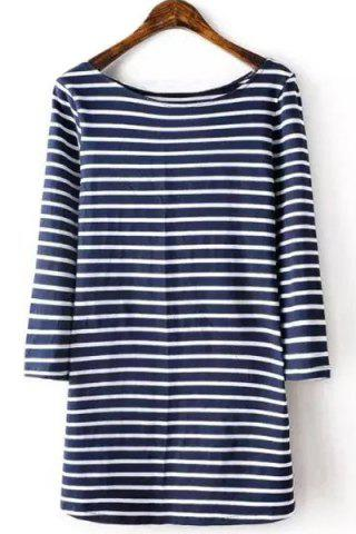 Store Brief Style Round Collar 3/4 Sleeve Striped T-Shirt For Women