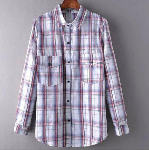 Discount Leisure Style Shirt Collar Long Sleeve Plaid Pocket Design Shirt For Women