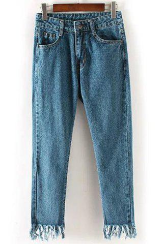 Discount Boyfriend Style Mid Waist Bleach Wash Solid Color Fringed Jeans For Women