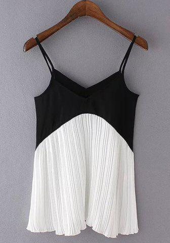 Outfits Stylish Spaghetti Strap Color Block Women's Tank Top