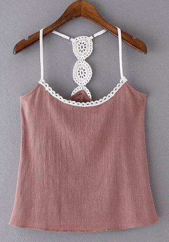 Buy Alluring Spaghetti Strap Spliced Women's Tank Top