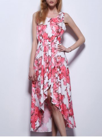 Latest High Low Floral Swing Prom Dress LIGHT RED S