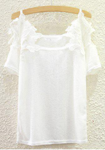 Online Sweet Lace Spliced Spaghetti Strap Cut Out Blouse For Women