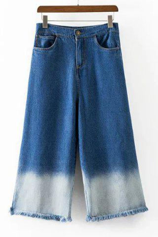 Unique Trendy High-Waisted Pocket Design Fringed Women's Wide Leg Pants