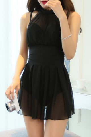 Elegant See-Through Solid Color One-Piece Swimwear For Women - Black - M