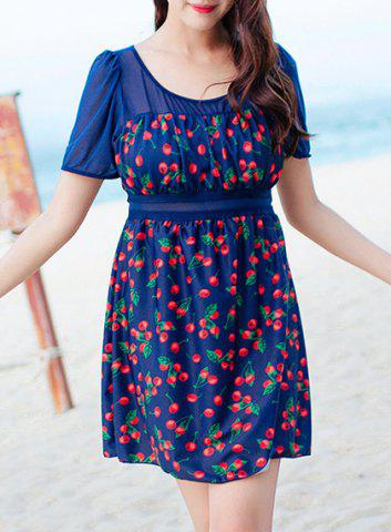 Hot Chic Cherry Printed One-Piece Dress Swimwear For Women DEEP BLUE 2XL