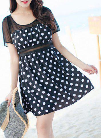 Discount Chic Polka Dot Printed One-Piece Dress Swimwear For Women BLACK 3XL