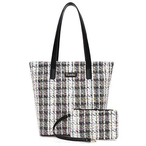 New Casual Color Block and Checked Design Tote Bag For Women