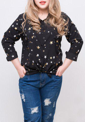 Sale Fashionable Long Sleeve Star Pattern Print Thin Loos-Fitting Women's Shirt