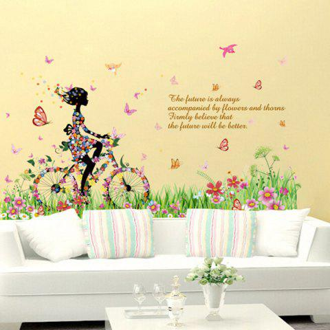 Fashion Fashion Colorful Flowers and Riding Girl Pattern Removeable Wall Stickers