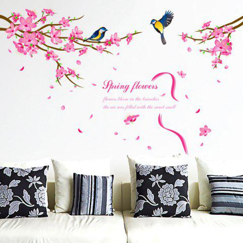 Chic Spring Flowers and Siskin Pattern Removeable Wall Stickers Animals COLORMIX