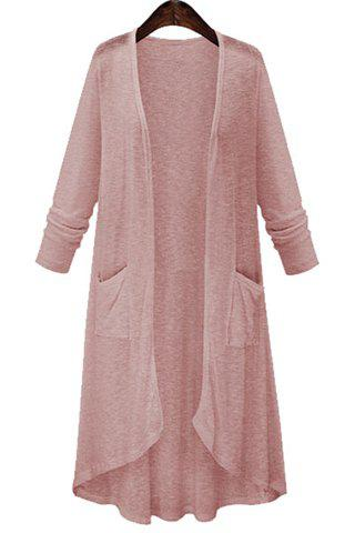 Chic High Low Long Sleeve Long Open Front Cardigan PINK M