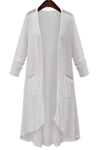 Chic High Low Long Sleeve Long Open Front Cardigan