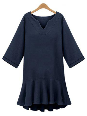 Fashion Brief V-Neck Flounce Solid Color 3/4 Sleeve Dress For Women