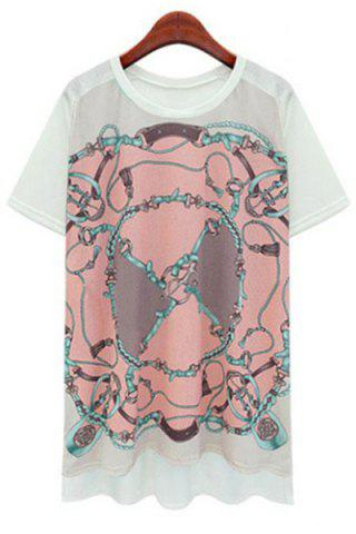 New Chic Round Collar Floral Print High Low Short Sleeve T-Shirt For Women