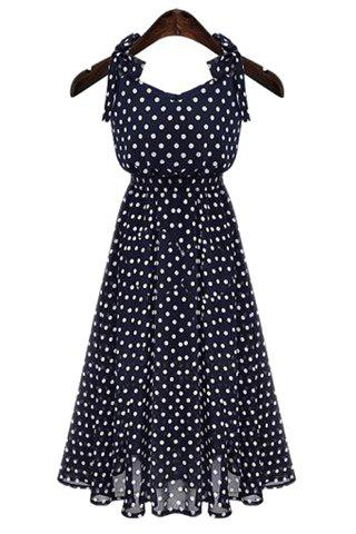 Chic Polka Dot Chiffon A Line Sleeveless Dress - XL BLUE Mobile