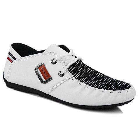 Discount Fashionable Metal and Splicing Design Casual Shoes For Men WHITE 41