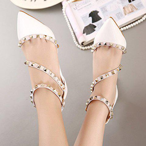 Discount Fashionable Rivets and Patent Leather Design Pumps For Women - 39 WHITE Mobile