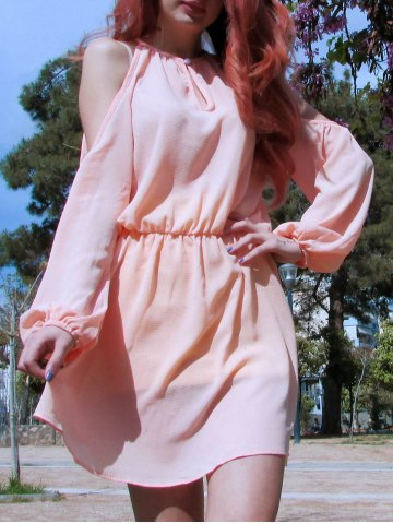 Fancy Cold Shoulder Hollow Out Long Sleeve Club Dress PINK M
