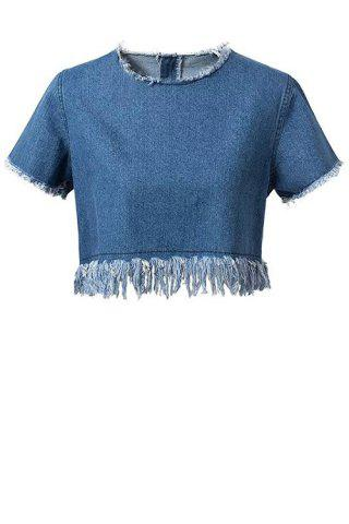 Chic Chic Short Sleeve Frayed Women's Denim Crop Top