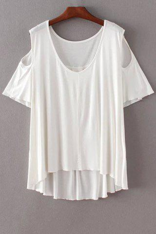 Outfits Stylish Scoop Neck Short Sleeve Solid Color Cold Shoulder Women's T-Shirt