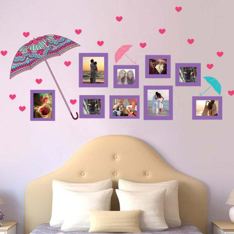 Flower Umbrella and Photo Frame Decals Removeable Wall Stickers - Colormix - 60*90cm