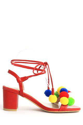 Fashion Trendy Colorful Pompon and Chunky Heel Design Sandals For Women RED 39