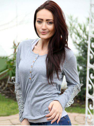 Trendy Casual Scoop Neck Lace Splicing Long Sleeve T-Shirt For Women - LIGHT GRAY L Mobile