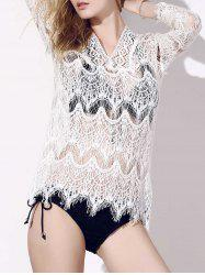 V-Neck Crochet Hollow Out Lace Cover-Ups For Swimwear - WHITE