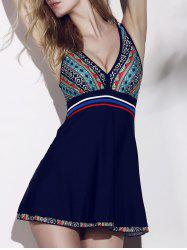 V-Neck Ethnic Print One-Piece Swimsuit