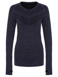 Stylish Round Collar Slimming Long Sleeve Gym Top For Women -