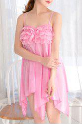 Alluring Spaghetti Strap Lace Spliced Pure Color High Low Women's Babydoll