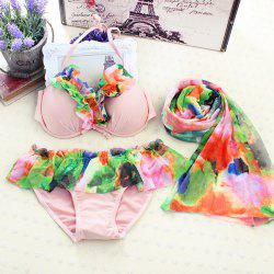 Cute Halter Flounced Floral Women's Three Piece Bikini Set