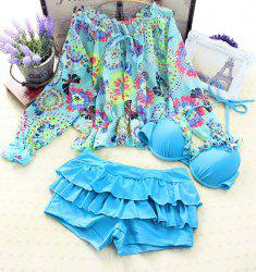 Stylish Halter Ruffled Printed Women's Three Piece Bikini Set