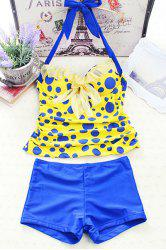 Polka Dot Backless Underwire Padded Push Up Tankini Bathing Suit