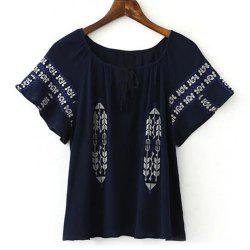 Short Sleeve Embroidery Tunic Blouse - CADETBLUE M