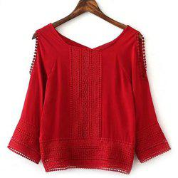Stylish Long Sleeve Hollow Out Spliced Women's Blouse -