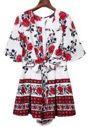 Sweet Half Sleeve Plunging Neck Floral Print Women's Romper - WHITE S