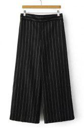 Fashionable High-Waisted Striped Loose-Fitting Women's Ankle Pants -