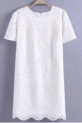 Graceful Jewel Neck Short Sleeve Hollow Out Embroidered White Dress For Women -