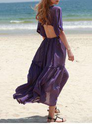 Bohemian Plunging Neck Hollow Out Solid Color Women's Dress -