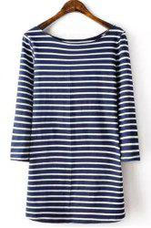 Brief Style Round Collar 3/4 Sleeve Striped T-Shirt For Women -