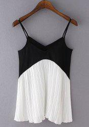 Stylish Spaghetti Strap Color Block Women's Tank Top -