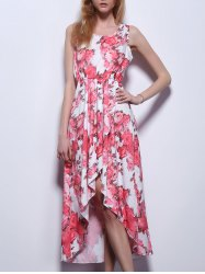High Low Floral Prom Flowy Dress - LIGHT RED S