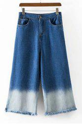 Trendy High-Waisted Pocket Design Fringed Women's Wide Leg Pants -