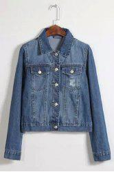 Long Sleeve Broken Hole Pocket Design Ripped Jean Jacket - DEEP BLUE